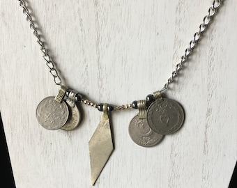 Tribal fusion coin necklace