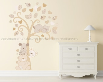 Tree Baby Wall Decal Nursery Puppies animals Wall Decal Kids Wall Stickers Baby Tree of Puppies