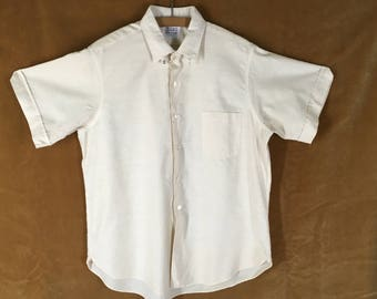 Vintage 60s Short Sleeve Mens Shirt M L Off White Cotton Chin Strap Button Front Penney's Towncraft