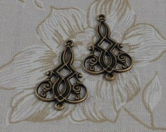 LuxeOrnaments Oxidized Brass Filigree 2 Ring Pendant (2 pcs) 24x16mm G-5918-B
