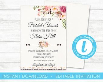 EDIT YOURSELF, Bridal Shower Invitation, Editable Invite, Bridal Shower, Floral Custom Invitation, Bridal Shower Invite, Instant Download
