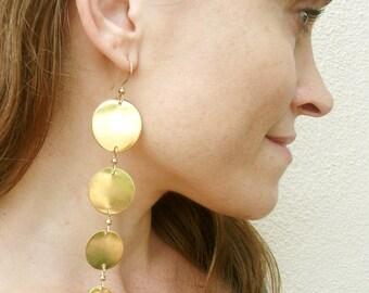 """Solid Brass-Disc-""""Sun""""-Long-Earrings-Earrings / Free US Shipping"""