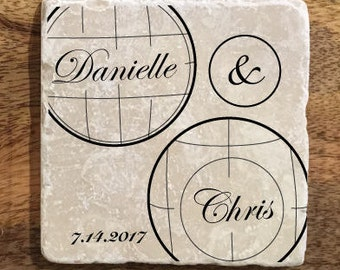 Personalized coasters / Bocce wedding gift / Italian wedding gift / Wedding favor / Bocce - Set of 4