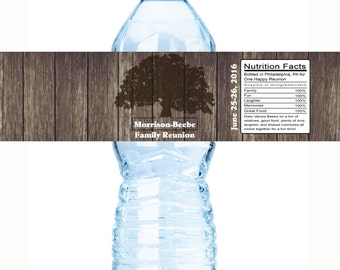 Family Reunion Water Bottle Labels, Family Reunion Favors,Reunion Favors, Family Tree, Reunion Decor, Reunion Party Favors, Reunion Favors