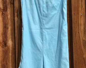 Perky Baby Blue Cotton Jumpsuit from the '60s with Recently Added Detail