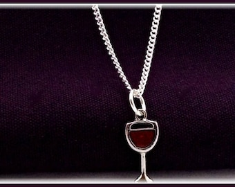 Wine necklace, Charm necklace, wine glass necklace, silver necklace, Red wine necklace, wine jewelry, girls necklace, long necklace