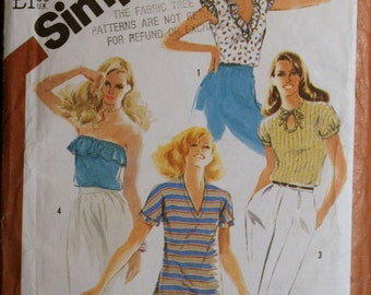 Sewing Pattern Simplicity 5509 Misses Pullover Tops Pattern  Sz 12
