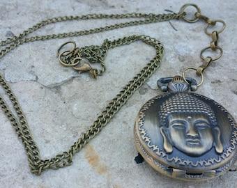 Buddha necklace watch, watch - Zen, antique bronze