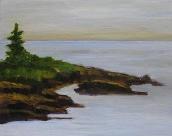 SALE Original Oil Painting Maine Seascape Grimes Cove Ocean Point Boothbay Harbor En Plein Air Artist Kathleen Daughan  Framed Landscape