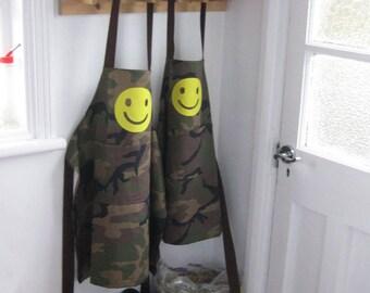 Childs Boys Girls Apron, Hand Appliquéd Jolly Yellow 'Smiley' Green Camo 8-12yr.