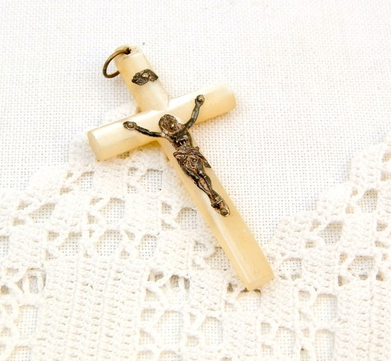 Vintage French Mother of Pearl and Silver Plated Crucifix, French Catholic Cross Made of Nacre with Metal Jesus, Religious Jewelry
