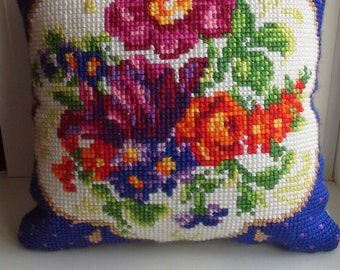 Cross stitch embroidered interior Zhostovo pillow with flowers
