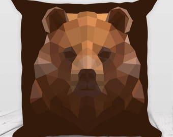 Bear Pillow / Cushion - Geometric Print