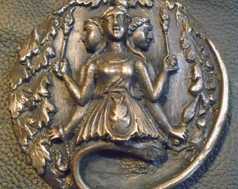 Hecate Goddess/ Bronze Metal/ Wall Plaque/ Hekate Altar/ Oak Leaves and Snake