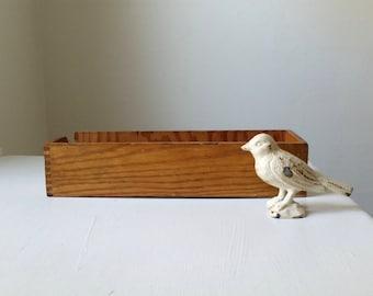 SALE Antique Wood Box . Wooden Box . Vintage Office . Home Decor . Farmhouse Style . Rustic Cabin . Retro Cottage . Storage Organization