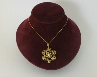Pearl Flower Brooch Pendant 9ct, Antique Style Jewellery, Vintage Gold Flower Pendants, Pearl Lavaliere Pendant, Vintage Jewelry, Gold Pearl