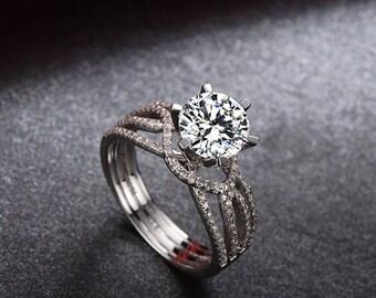 On Sale! Deluxe Forever One (GHI) Moissanite Engagement Ring in 18k White Gold, Diamond Alternative engagement ring