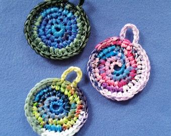 Three Multicolored Plarn Dish Scrubbies, recycled plastic bags, upcycled dish scrubby pot scrubbers