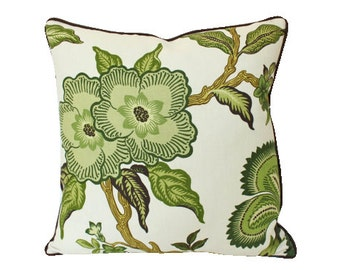 Verdance Green Hothouse Flower Schumacher Pillow Cover with Chocolate Brown Piping and Backing