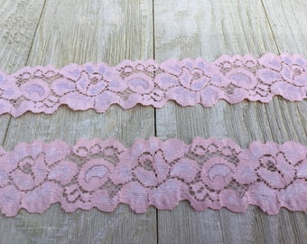 NEW--BLUSH PINK large Floral Stretch Lace-1 1/2 inch -5, 10, 15 or 20 yards