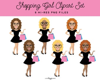 Shopping Girl Clipart, Blonde, Brunette, Redhead, Black Girl, Shopping Clipart Graphics, Lifestyle Fashion Girl Planner Sticker Clipart