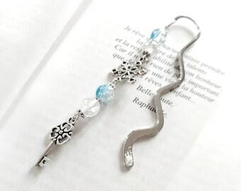 Marque pages livres vague flocon de neige argenté perles craquelées bleu hiver clé fleur