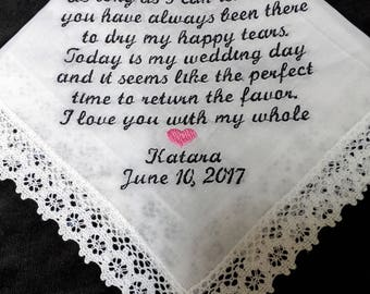 Personalized Lace or Scalloped MOTHER OF BRIDE Wedding Handkerchief ~ Happy Tears ~ 40 Words
