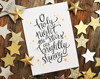 Silver OR Gold stars, Black lettering O holy night, Christmas art print, hand lettering, hand drawn, seasonal decor, watercolor, holiday art
