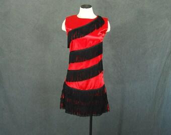 vintage 60s Flapper Dress - 1960s Red Satin Fringe Dress Wiggle Dress Sz S