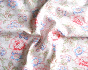 french floral fabric vintage fabric patchwork quilting pillowcases antique fabric red and blue floral fabric 132
