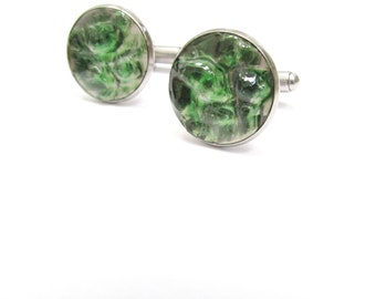Green Beer Bottle Cuff Links, Glass Shard, Round Green Cuff Links, upcycled, Men's Cuff links, Recycled, Gift, Stainless Steel, New Orleans