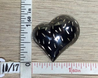 Vintage 925 Sterling Silver 7.8g Pendant Diamond Cut Heart Oxidized Used