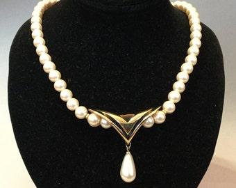 Napier Faux Pearl Teardrop Dangle Pendant Necklace