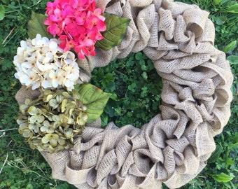 Hydrangea door wreath, front door wreath, door decor, new home gift, housewarming gift, summer door hanger, wreaths