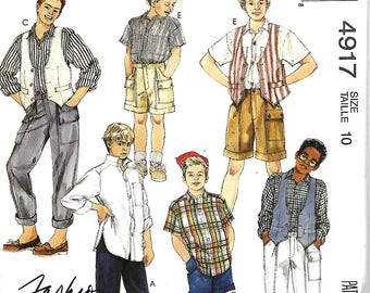 McCall's 4917 Boys Vest, Shirt And Pants Or Shorts Pattern, Size 10, UNCUT