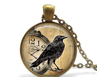 Crow Necklace, Steampunk Jewelry, Glass Art Pendant, Halloween Gifts