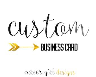 Custom Business/Calling Card, Printable, business cards, instant word document,gold,black, digital file, custom card
