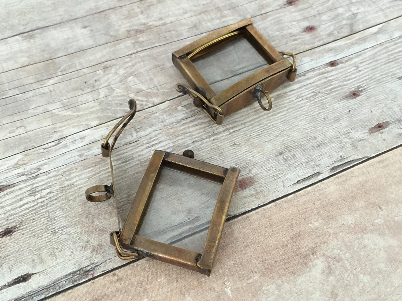 Small Hinged Square Bronze Glass Frame Pendant Memory Box