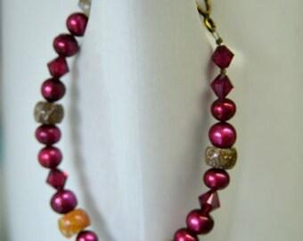 """Red Bracelet Pearl Bracelet Ocean Jasper Bracelet  """"Black Cherry Harvest"""""""