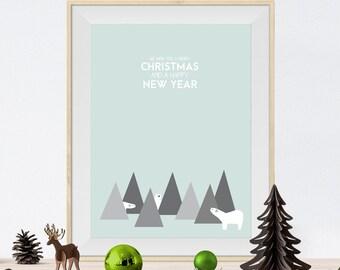 Christmas decoration - Wall poster - Christmas Print - Christmas Poster - Christmas Art - Christmas Wall Art - Polar bears