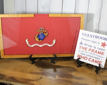 Personalized Guest Book/Flag/Marines/Army/Navy/Patriotic/Large/Military/Retirement/Guest Book/Wood Shape/Alternative/Stars