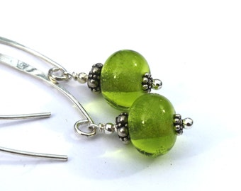 Dangling Lime Green Glass & Sterling Silver Earrings, Lampwork, Jewelry, Glass, Handmade in Sweden