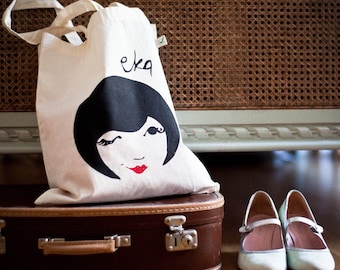 Tote Bag In Organic Cotton Hand Printed 'Wink' Illustration