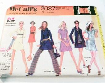 "1960s Mod A line dress Elastic waist straight leg pants sewing pattern Size 14 Bust 36"" McCalls 2087"