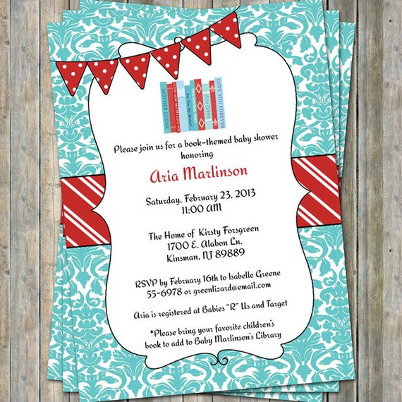Bring a book baby shower invite with banner baby shower filmwisefo