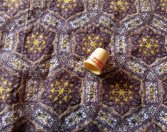 brown and gold geometric print vintage FULL feedsack fabric