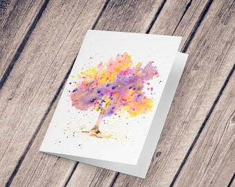 Wish card: Illustration reproduction painted with watercolor, Spring Tree