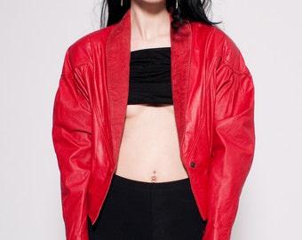 Vintage Red Leather Chia Crop Jacket