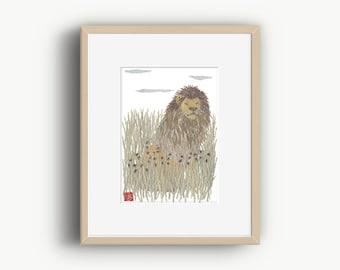Lion Wall Art, Lion Artwork, Wildlife Art, African Animal Art, Ready to Frame
