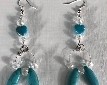 Turquoise earrings - dangle earrings - beaded earrings - handmade earrings - unique earrings - everyday earrings - chic earrings